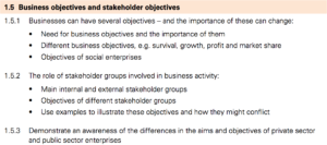 IGCSE Business Studies 1 5 Business objectives and stakeholder